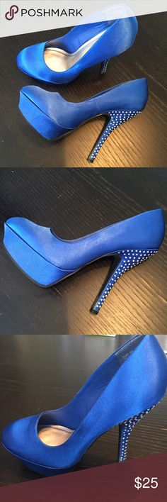 "Bamboo Royal blue crystal platform heels 7.5 Statement shoes, royal blue satin with Rainbow crystals on 5"" spike heels. 1.5"" platform.  Prefect for prom, weddings or any special occasions. Small mark on the front and side platform worn once. So 7.5 Bamboo Shoes Platforms"