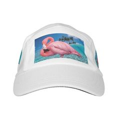 Pink Flamingo Knit Performance Hat, White ($35) ❤ liked on Polyvore featuring accessories, hats, beach hat, palm hat, pink hat, white hat and palm tree hat