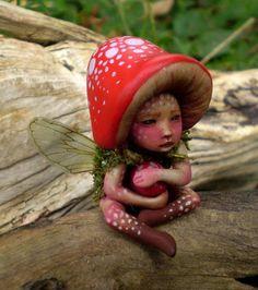 Mushroom Fairy for Stephie:-) Thanks, Sue; Baby Fairy, Love Fairy, Ooak Dolls, Art Dolls, Fairy Dust, Fairy Tales, Biscuit, Polymer Clay Fairy, Clay Fairies