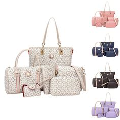 Women Leather Handbag Shoulder Cross Body Bag Tote Messenger Satchel Purse 6Pcs