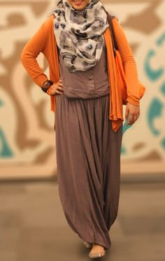 Orange#Love#Hijab Want a jumpsuit like this!