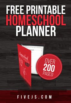 Free Printable Homeschool Planner (over 200 pages)  Joy from FiveJs.com has a free printable Homeschool Planner with over 200 different pages.