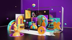 Peter-Tarka-Folio-Illustration-Nickelodeon-Typography-Purple-3D-CGI-Geometric-Graphic-Digital-L