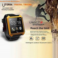 "Flylinktech 新発売 Android/iphone機種対応 防水防塵耐衝撃スマートウオッチ U Watch Bluetooth BT4.0スマート腕時計1.6"" IPSディスプレイ画面 IP68防水スマートフォン歩数計スリープモニター音楽プレーヤアンチロスト(ブラック)"