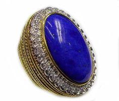 Estate Diamond Lapis Lazuli Yellow Gold Oval Large Cocktail Ring