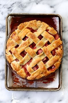 Strawberries are in season! Give them a try in this Strawberry Lattice Pie from Joy the Baker.
