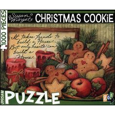 """Susan Winget Christmas Cookies 1000 Piece Puzzle. Susan Winget's Christmas Cookies puzzle by Go! Games provides a festive activity to enjoy during the holiday season. The 1000-piece jigsaw puzzle features a decorative holiday basket brimming with fruit, holly, cinnamon sticks and gingerbread men and accented with the phrase: """"It takes hands. Price: $14.99"""
