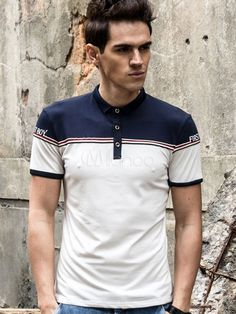 Men's Polo Shirt Two Tone Turndown Collar Short Sleeve Slim Fit Cotton Top & Men\'s Clothing > Polo Shirts Polo Shirt Design, Polo Shirt Colors, Mens Polo T Shirts, Boys Shirts, Camisa Polo, Camisa Floral, Long Sleeve Polo, Trendy Outfits, Fashion Outfits