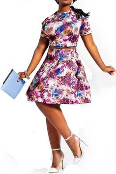Print Short Sleeve Top and A Line Skirt