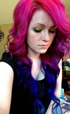 hair, hair color, pink hair, pink, blue hair, blue, multi-colored hair, tips