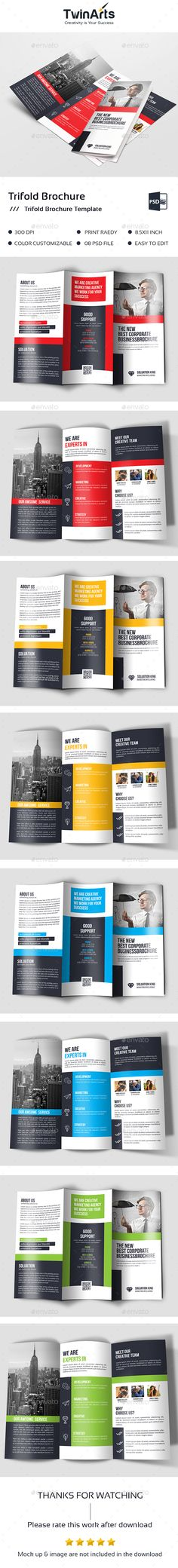 Corporate #Trifold Brochure - #Brochures Print Templates Download here: https://graphicriver.net/item/corporate-trifold-brochure/20291361?ref=alena994