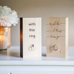 You HAVE to see this project!!! Say goodbye to the wedding ring frame... and hello to this modern - hand painted wooden block wedding ring holder! So fab!