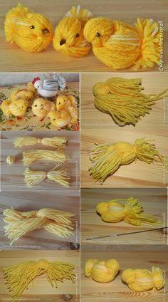 A madárkák elkészítéséhez különféle színárnyalatú fonalak szüksége. Bird Crafts, Diy Home Crafts, Easter Crafts, Holiday Crafts, Fun Crafts, Crafts For Kids, Arts And Crafts, Unicorn Crafts, Easter Ideas