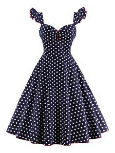 Polka Dots Square Neck Women's Day Dress