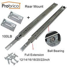 Screws Awesome 18-1 Pair Full Extension 100lb Ball Bearing Drawer Slides Rear//Side Mount