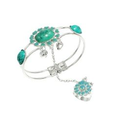 """Rosallini Southeast Asian Style Oval Flowers Ring Bracelet Bangle Turquoise Silver Tone Rosallini. $5.63. Ring Inner Diameter : 16.92mm / 0.666"""";Ring Circumference : 53.1mm / 2.09"""". Color : Turquoise, Silver Tone;Ring Size : US: 6 1/2,UK: M 1/2. Product Name : Finger Ring Bracelet;Material : Plastic, Metal. Package Content : 1 x Finger Ring Bracelet. Bracelet Girth : 21 cm / 8.3"""";Weight : 24g"""