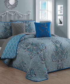 Look what I found on #zulily! Blue Gabriella Nine-Piece Quilt Set by Geneva Home Fashions #zulilyfinds