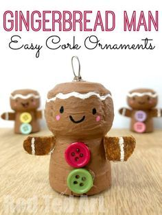 DIY Cork Ornaments for Christmas - How to make a Gingerbread Man Ornament! Cork Gingerbread Man DIY DIY Cork Ornaments for Christmas - How to make a Gingerbread Man Ornament! Gingerbread Man Decorations, Gingerbread Ornaments, Christmas Ornament Crafts, Christmas Crafts For Kids, Holiday Crafts, Christmas Diy, Christmas Decorations, Christmas Gingerbread, Gingerbread Man Crafts
