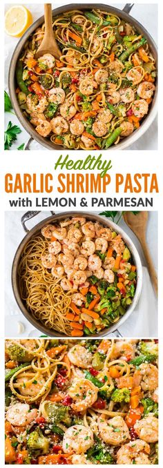 An easy, healthy Lemon Garlic Shrimp Pasta with Parmesan. Frozen stir fry veggies make this recipe extra quick with minimal prep. Ready in 30 minutes and a total crowd pleaser! Simple, lightly spicy, and perfect for date night or easy healthy dinners. #healthy #shrimppasta #garlicshrimp