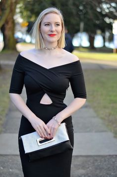 Vancouver Vogue: Valentine's Outfit Inspiration (bardot neckline little black dress & choker necklace)