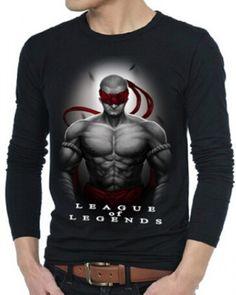 League of Legends camisas de t para homens T preto de manga longa Lee Sin impresso-