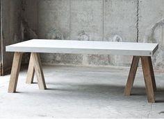 Muubs Rockefeller Teack Fiber Concrete table Indoor outdoor
