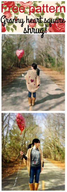 Free crochet pattern-Granny heart square shrug/cocoon cardigan. Happy Valentine's Day!