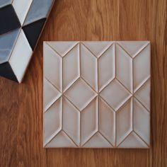 handmade terracotta tile in a translucent white glaze. Made in Portugal. @CasaCubista