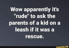 "Picture memes — iFunny - Wow apparently it's ""rude"" to ask the parents of a kid on a leash if it was a rescue. Professor, Funny Quotes, Funny Memes, Haha Funny, Funny Stuff, Funny Laugh, Funny Shit, Twisted Humor, Mom Humor"