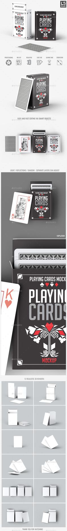 Playing Cards MockUp — Photoshop PSD #game #box • Available here → https://graphicriver.net/item/playing-cards-mockup/15963077?ref=pxcr