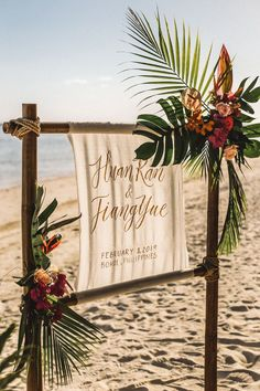 You Will Love the Chic Tropical Styling of This Intimate Wedding by the Sea! You Will Love the Chic Tropical Styling of This Intimate Wedding by the Sea! Tropical Wedding Decor, Boho Beach Wedding, Beach Wedding Reception, Beach Wedding Inspiration, Beach Ceremony, Beach Wedding Decorations, Hawaii Wedding, Wedding Ideas, Beach Wedding Signs