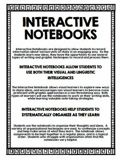 Interactive Notebooks:  Key information, and tips for setting them up in your classroom!