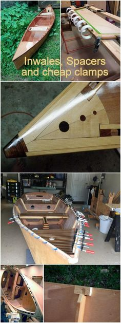 Methods for finding the right spacings for inwales and cheap clamps for boat building. Using canoes and the Goat Island Skiff sailing dinghy as examples. Some nice tricks of the trade to make building your own boat easier.