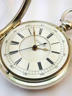 c1890, ANTIQUE SOLID SILVER OPEN FACE CENTRE SECONDS CHRONOGRAPH POCKET WATCH