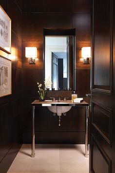 Gentleman's bath - Powder room has dark checkerboard-like walls by leaving slim reveal between squares of oak. polished- nickel washstand w/ marble top; Stephen Wagg of Gluckstein Design Home Design, Interior Design, Design Ideas, Design Design, Condo Living Room, House Rooms, Tiny Powder Rooms, Masculine Bathroom, Georgian Interiors