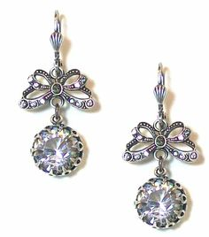 Catherine Popesco Sterling Silver Butterfly and Clear Swarovski Crystal Drop Lace Bezel Set Earrings:
