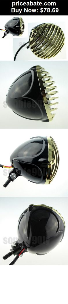 Motors-Parts-And-Accessories: SCALLOPED BRASS HEADLIGHT MOTORCYCLE FINNED GRILL LED 4 CHOPPER BOBBER CUSTOM XL - BUY IT NOW ONLY $78.69
