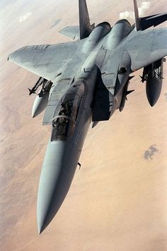 An F-15 aircraft from the US Air Force Eagle flies patrol in the desert during the ceasefire between the coalition and Iraqi forces after Operation Storm.