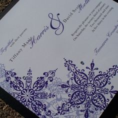 love the purple snowflake invites