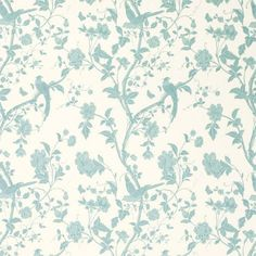 Summer Palace Off White/Duck Egg Cotton Rich Curtain Fabric - Laura Ashley Sverige