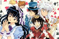 Inuyasha as Alice in Wonderland; Kagome as Alice, Sango as The Queen of Hearts, Miroku as The Mad Hatter, Inuyasha as The White Rabbit and Shippo as the Tea Mouse Sango Y Miroku, Inuyasha And Sesshomaru, Kagome Higurashi, Inuyasha Funny, Inuyasha Love, Seshomaru Y Rin, Manga Anime, Anime Art, Otaku