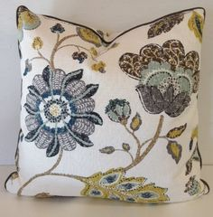 """DWELL STUDIO ABSTRACT Floral Design Linen 22"""" Pillow Cover"""