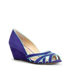 Women's Gem Blue Amalfi Blue Suede/Faux Leather 2 Inch Suede Mini Wedge   Danna by Sole Society