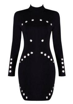 Bobbie Black Metal Detail Mini Dress