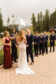 Outdoor wedding ceremony at TenMile Station in Breckenridge, Co. It was starting to rain so clear umbrellas saved the day! To see more from this Colorado mountain wedding in Breckenridge check out the rest of the blog! Breckenridge Resort, Rain Photography, Bridesmaid Dresses, Wedding Dresses, Umbrellas, Spring Wedding, Wedding Ceremony, Colorado, Rest