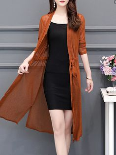 Plain Cardigans - Look Shop Casual Skirt Outfits, Stylish Dresses, Simple Dresses, Casual Dresses, Fashion Dresses, Chiffon Cardigan, Dress With Cardigan, Cardigan Fashion, Look Legging