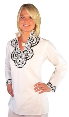 White Tunic Top Black Embroidery