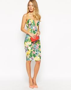 Enlarge Ginger Fizz Corsage Bodycon Dress In Tropical Floral Print