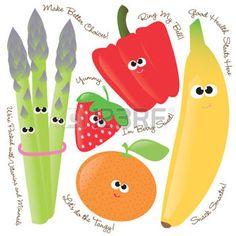 fruit cartoon: Mixed fruits & vegetables vector set 1