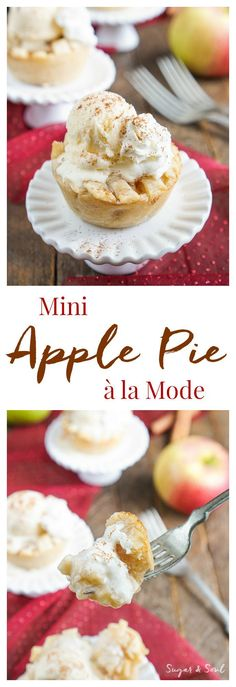These Mini Apple Pie a la Mode are made with a premade pie crust and a sweet seasonal blend of apples and cinnamon.